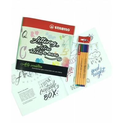 Set de Libro de Arte Creativo Lettering y Letras + Microfibras Point 88 x 5 Colores Frios Stabilo