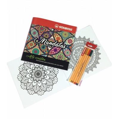 Set de Libro de Arte Creativo Mandalas + Microfibras Point 88 x 5 Colores Cálidos Stabilo