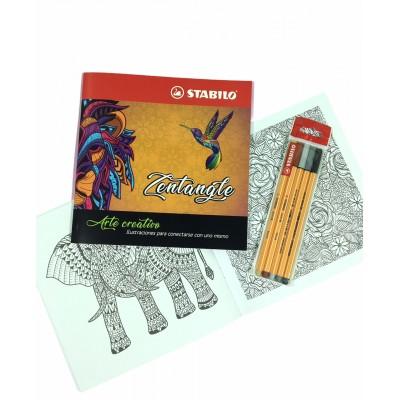 Set de Libro de Arte Creativo Zentangle + Microfibras Point 88 x 5 Colores Grises y Sepias Stabilo