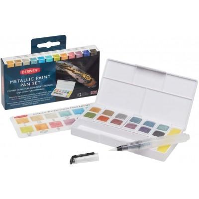 Set de Acuarelas Inktense Paint x12 Colores Metálicos Derwent