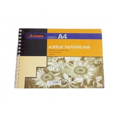 Block Espiralado A4 para Acrílico de 400gr x12 hojas Artmate
