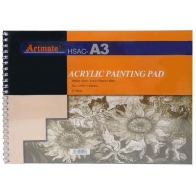 Block Espiralado A3 para Acrílico de 400gr x12 hojas Artmate