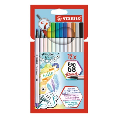 Set Marcador Pen 68 BRUSH X12 colores estuche cartón Stabilo