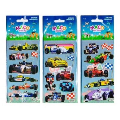 Plancha Stickers Autos de Carrera Maco