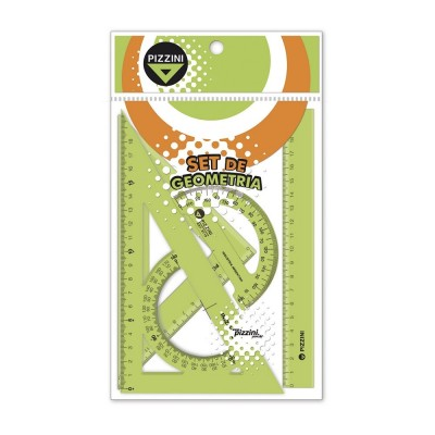 Set de Geometría Escolar de 4 Piezas Nº4114  Verde Pizzini