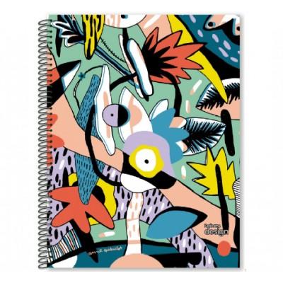 Cuaderno con espiral A4 tapa plastica Design x 84 hojas cuadriculado Ledesma