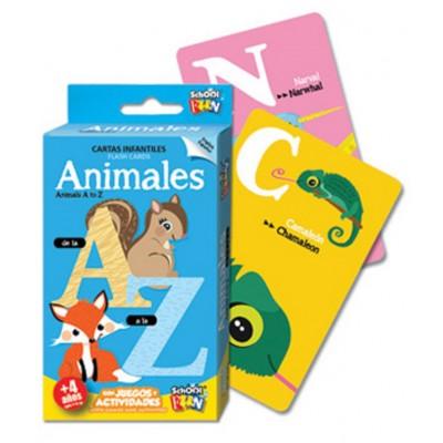 Cartas educativas Animales: de la A a la Z  mazo de 55 cartas Schoolfun