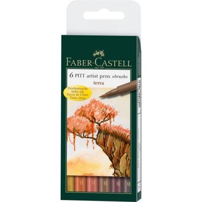 Juego Pitt Artist Pen Terra x6 Unidades Faber-Castell