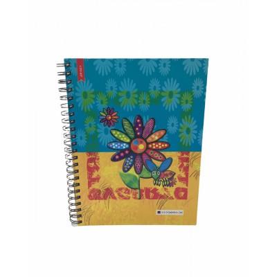 Cuaderno con espiral A4 tapa dura Flowers x 150 hojas cuadriculado Cita Kit