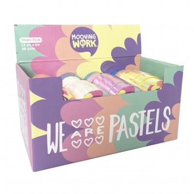 Cinta adhesiva Washi Tape de 1,5cm x5 metros PASTEL x unidad Mooving