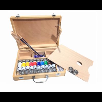Set Caja Madera Van Gogh OIL COLOUR 10 colores al óleo x40 ml +2pinceles +paleta +2 medios x75 ml Talens
