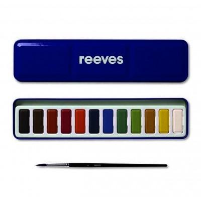 Set Acuarela estuche de Metal x12 pastillas +1 pincel Reeves