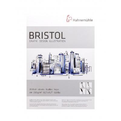 Block Dibujo Bristol A4 Blanco Brillante Superficie Lisa de 250 gramos x20 hojas Hahnemühle