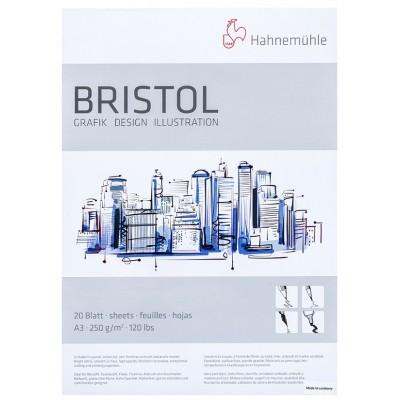 Block Dibujo Bristol A3 Blanco Brillante Superficie Lisa de 250 gramos x20 hojas Hahnemühle