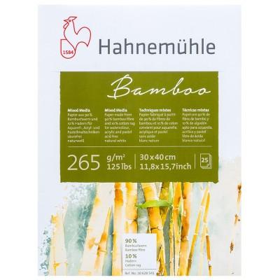 Block Multitécnica 30x40 cm Mixed Media 90% Bambú+10% Algodón Blanco Natural de 265 gramos x25 hojas Hahnemühle