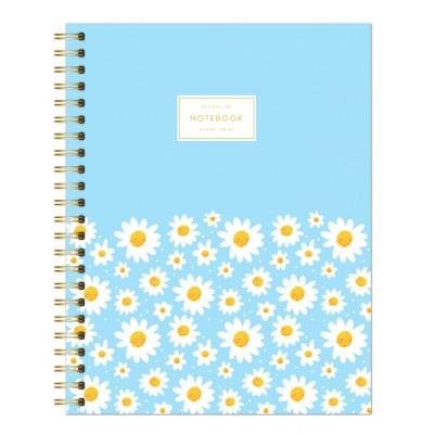 Cuaderno con espiral A4 tapa semi dura margaritas celeste pastel rayado DO DECORLINE