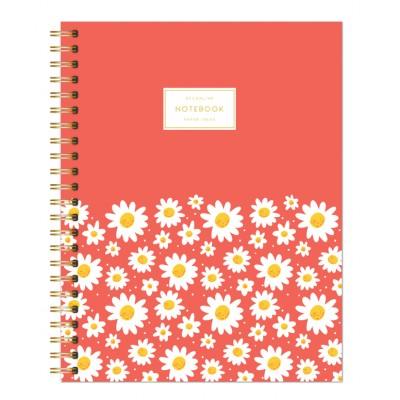 Cuaderno con espiral A4 tapa semi dura margaritas rojizo rayado DO DECORLINE