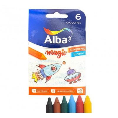 Crayones Jumbo x6 Colores Surtidos Alba