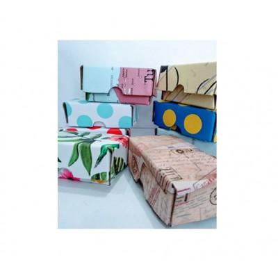 Tarjetero de cartón montado colores surtidos +100 tarjetas blancas Paperland