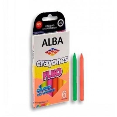 Crayones Flúo x6 Colores Alba