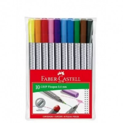 Marcadores con Grip FINEPEN x10 colores estuche Faber-Castell