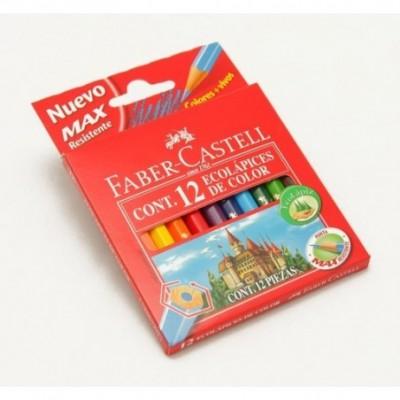 Lapices de color x 12 colores cortos Faber-Castell