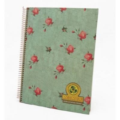 Cuaderno con espiral A4 tapa dura Flores x 96 hojas rayado Rec Roll