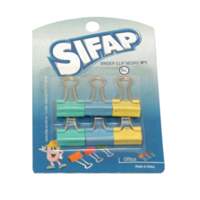 Binder Clip 19 mm COLORES PASTEL blister x6 unidades Sifap
