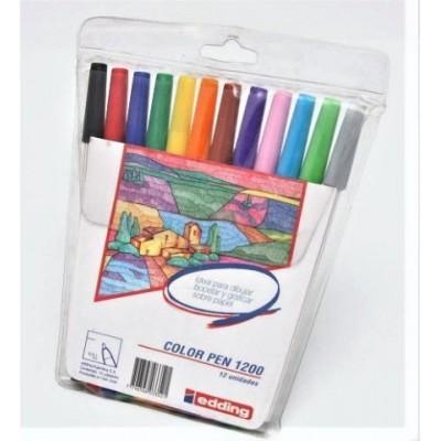Marcador al agua Art 1200 estuche x12 colores punta fina Edding