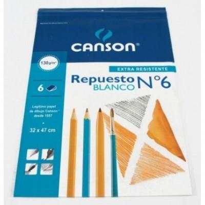 Repuesto Nº 6 dibujo blanco de 120/130 grs x 6 hojas Canson