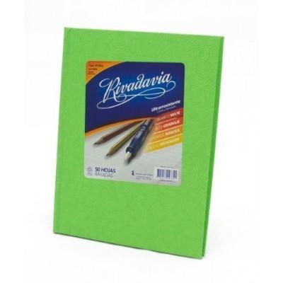 Cuaderno tapa de carton x 50 hojas rayado verde manzana Rivadavia