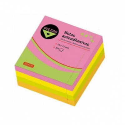 Nota adhesiva 75x75mm x320 hojas FLÚO Pizzini