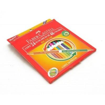 Lapices de color x 24 colores largos bicolor Faber-Castell