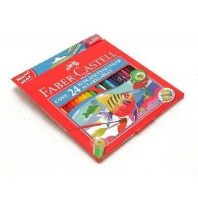 Lapices de color x 24 colores largos acuarelables Faber-Castell
