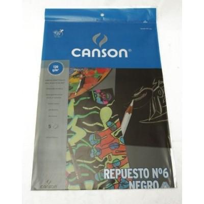Repuesto Nº 6 dibujo negro de 120 grs x 5 hojas Canson