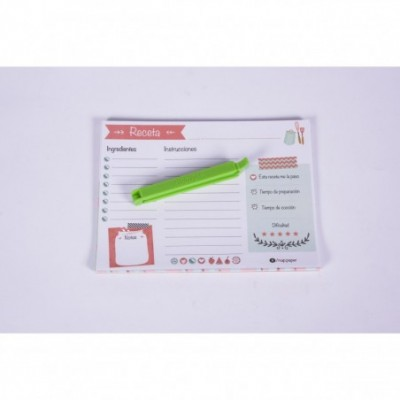 Block recetas con iman utensillo (cierra bolsa) x 26 hojas