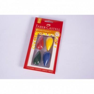 Crayones iniciales x 4 colores Trompo/Gota Faber-Castell
