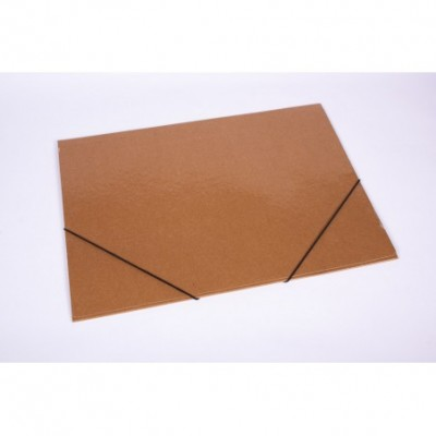 Carpeta A3 3 solapas con elastico marron plastificada
