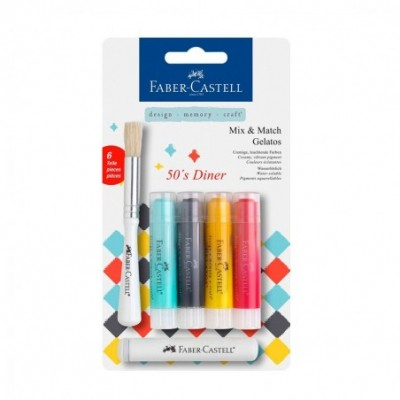 Crayones Acuarelables Gelatos x4 unidades +Stencil +Pincel '50 DINER Faber-Castell