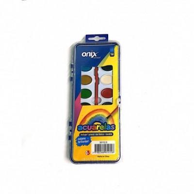 Acuarelas + pincel 6 colores brillantes  ONIX