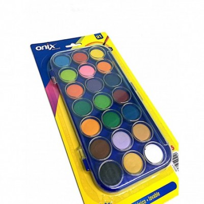 Acuarelas escolares grande x 21 colores vivos + pincel ONIX