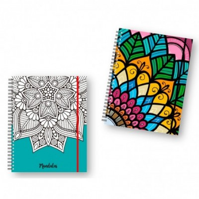 Cuaderno 16x21 cm RAYADO Tapa dura con elástico Mandala metalizada x120 hojas Onix