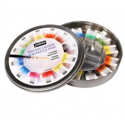 Acuarela Fina x12 pastillas de colores Caja redonda metal Pebeo