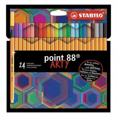 Set Microfibra Point 88 ARTY x24 colores estuche cartón Stabilo