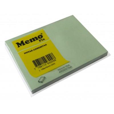 Nota adhesiva 101x74 mm x100 hojas VERDE PASTEL Memo Fix