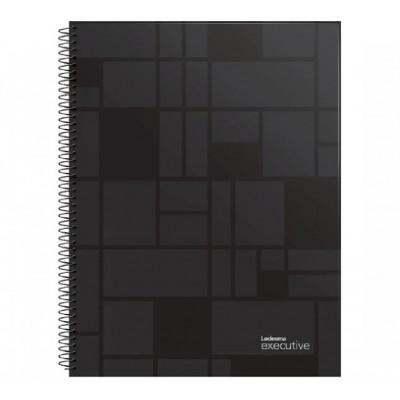 Cuaderno con espiral A4 tapa plastica Executive negro x 84 hojas rayado Ledesma
