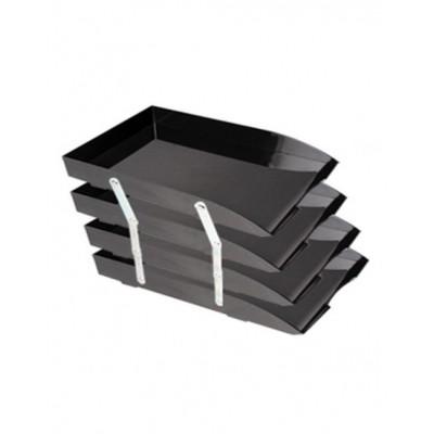 Bandeja oficio de 4 pisos con bisagra metal negro Liggo Trade