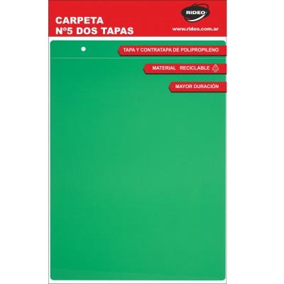 Carpeta Nº5 de dos tapas plástica lisa Rideo x colores