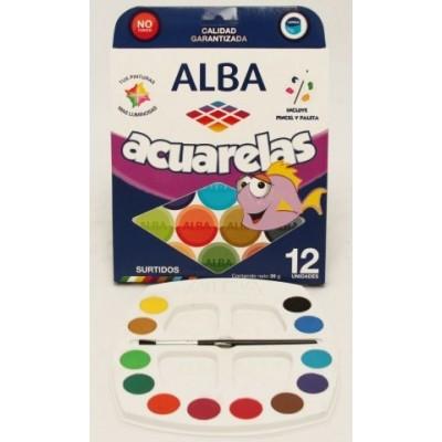 Acuarela x 12 colores caja blister Alba