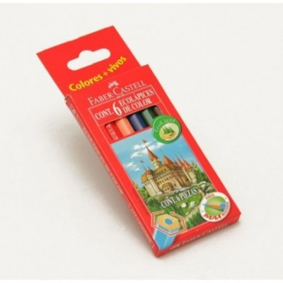 Lapices de color x 6 colores cortos Faber-Castell